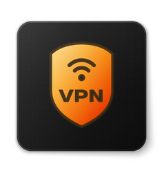 Orange glowing shield with vpn and wifi wireless vector