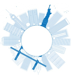 Outline New York city vector image