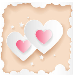 Paper cut art valentines day hearts greeting card vector