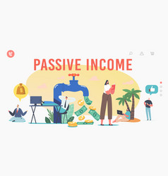 Passive income landing page template tiny vector