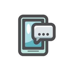 Phone message dialog icon cartoon vector