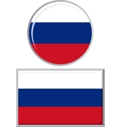Russian round and square icon flag vector