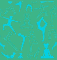 Seamless pattern with girls doing yoga poses in vector