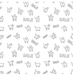 seamless shopping sale pattern on white background vector image