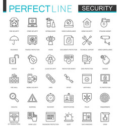 Security protection thin line web icons set data vector