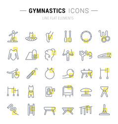 set line icons gymnastics vector image