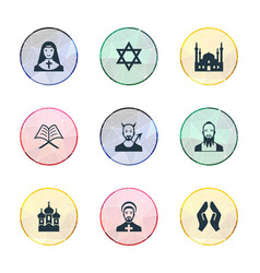 Set of simple religion icons elements muslim devil vector