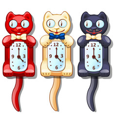 Set of wall clocks with funny cats vector