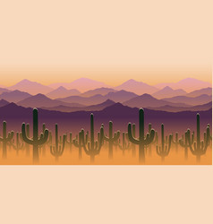 silhouettes cactus plant on background of vector image