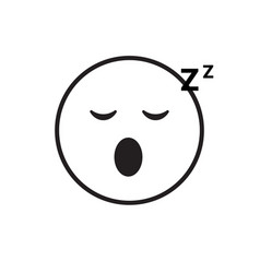 Smiling cartoon face sleeping people emotion icon vector