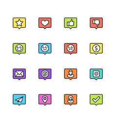 social net notifications icon set vector image