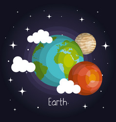 Space planets mars and earth moon galaxy element vector