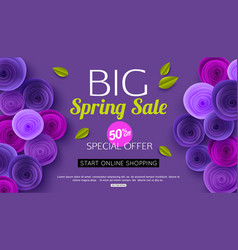 spring sale banner design with ultra violet paper vector image