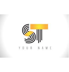 St black lines letter logo creative line letters vector