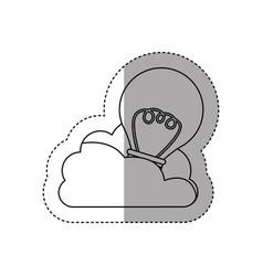 Sticker contour cloud in cumulus shape with light vector