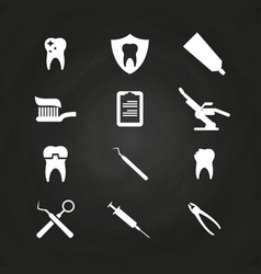 Stomatology icons set on chalkboard - teeth care vector