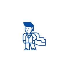 Super herobusinessmanbusiness mentor line icon vector