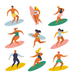 Surf girls and boys surfing in the sea set 70s vector