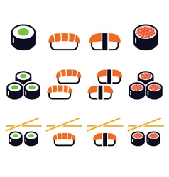 Sushi - Japanese food icons set vector image