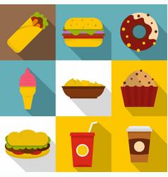 tasty fast food icon set flat style vector image