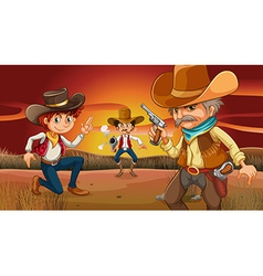 Three scary cowboys at the desert vector