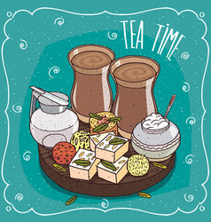 Traditional asian sweets and masala chai tea vector