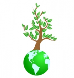 tree on green planet vector image