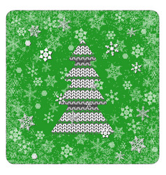 vintage card knitting christmas tree snowflakes vector image