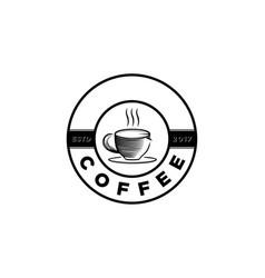 vintage coffee cup round emblem coffee shop logo vector image