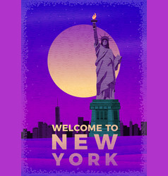 vintage poster liberty statue with new york vector image