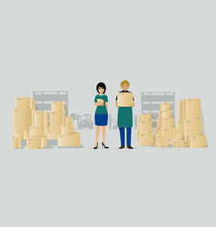 warehouse workers vector image