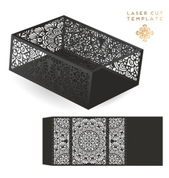 wedding card laser cut template vintage vector image