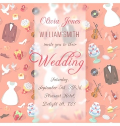 Wedding Invitation Card with Blurred Pattern vector image