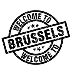 welcome to brussels black stamp vector image