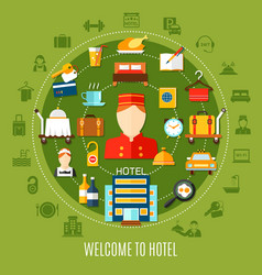 Welcome to hotel round set vector