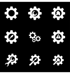 white tools in gear icon set vector image