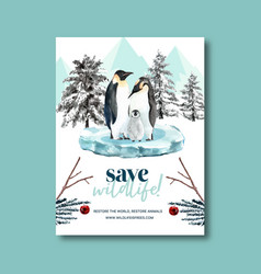 Winter animal poster design with branch penguin vector