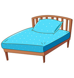 bed with blue pillow and sheet vector image vector image