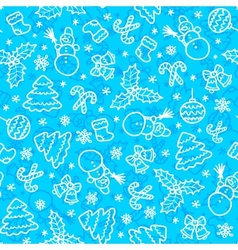 Blue christmas seamless pattern in cartoon style vector image