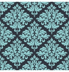 Blue on grey damask seamless pattern vector image