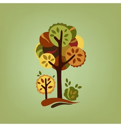 Card with stylized autumn trees vector