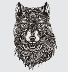 Highly detailed abstract wolf vector image