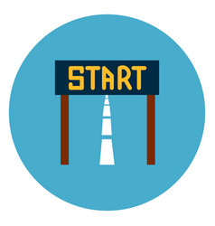 start race icon web button on round blue vector image