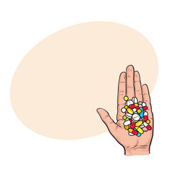 Hand holding pile of colorful pills tablets in vector