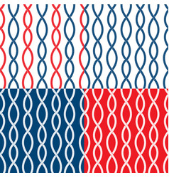 set of seamless nautical patterns on blue red vector image