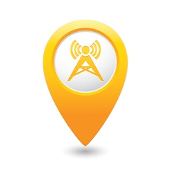 wireless icon yellow map pointer vector image