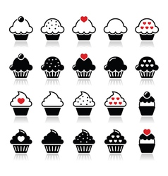 Cupcake with heart cherry and sparkles icons set vector