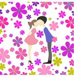 People and flowers vector