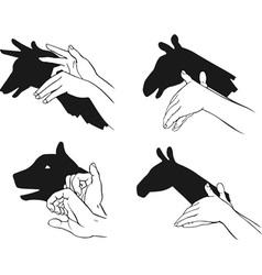 shadow of hands forming animal head vector image