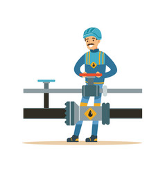 smiling oilman working on an oil pipeline vector image vector image